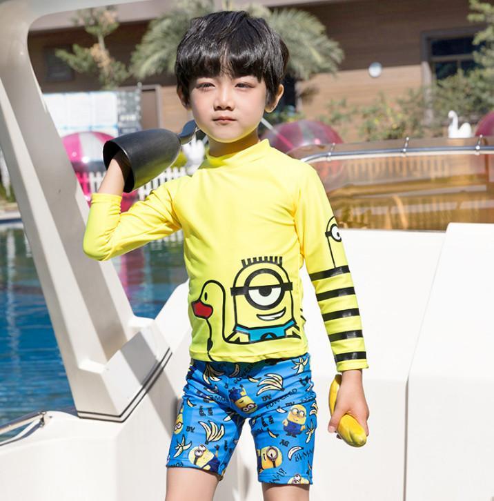 summer Boys swimsuits kids anime printed swimwear children cartoon stripe long sleeve split swimming boys diving suit Y1353