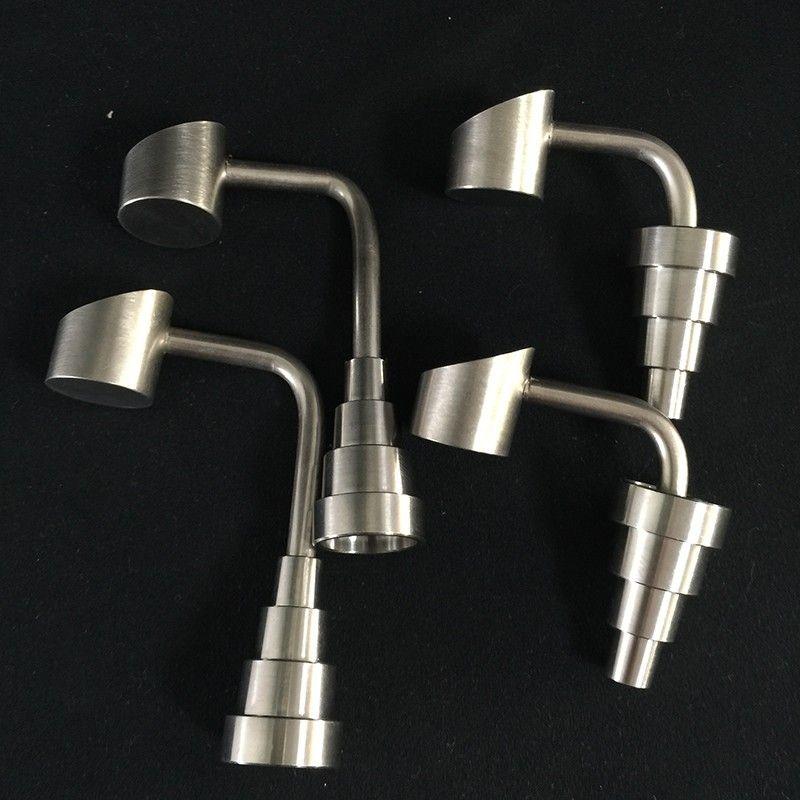 GR2 Universal Titanium Nails Dome-less Honey Buckets Bubbler Banger Nails 18.8mm 14.4mm 10mm Male Female joint 6 in 1 Titanium Nail