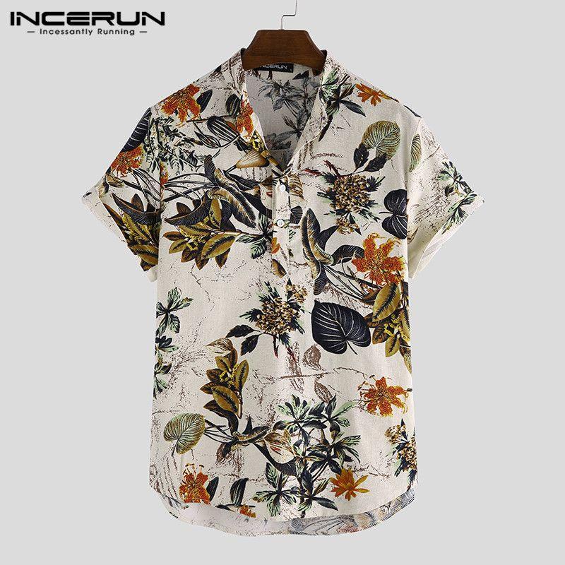 Homens Casuais Camisas Incerun Homens Hawaiian Chic Impresso Collar Camisa de Manga Curta Camisa Beach Streetwear Botão Mens de Algodão Verão Moda Blusa