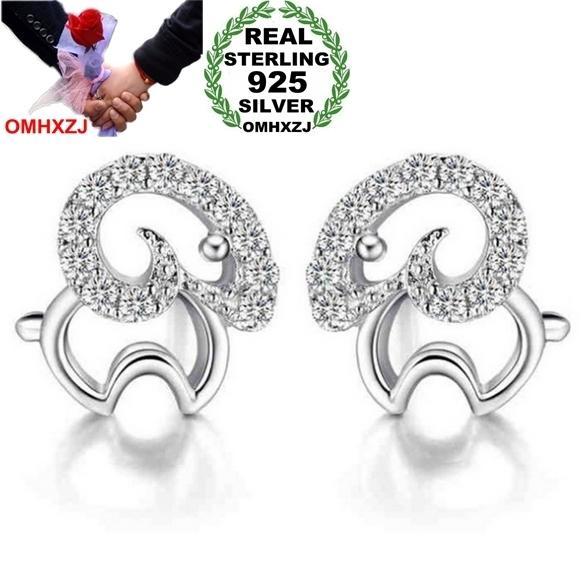 OMHXZJ Wholesale Fashion jewelry animal Little sheep Sweden Full drill zircon Real 925 sterling silver Stud earrings YS112