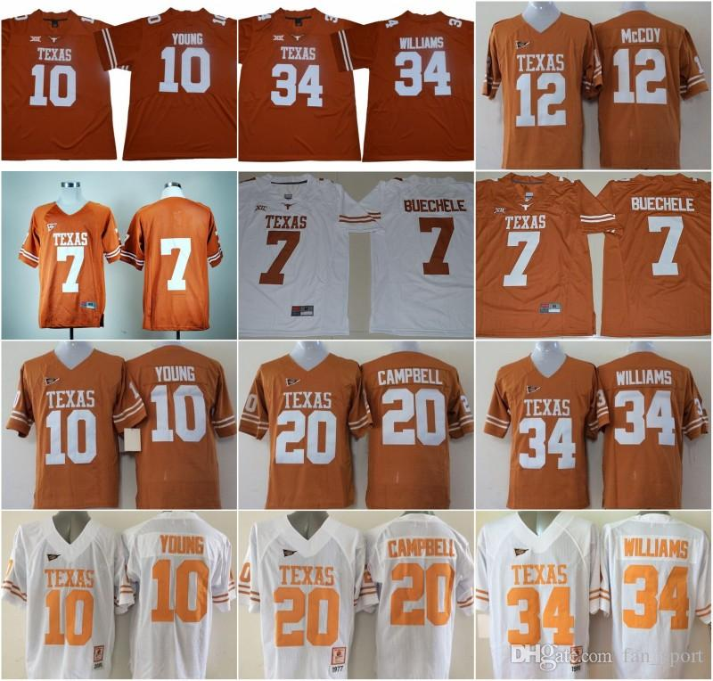 2019 Texas Longhorns Vince 98 Brian Orakpo20 Earl Campbell 12 Colt McCoy 7 Shane Buechele 34 Williams 10 Young Stitched Namenumber America