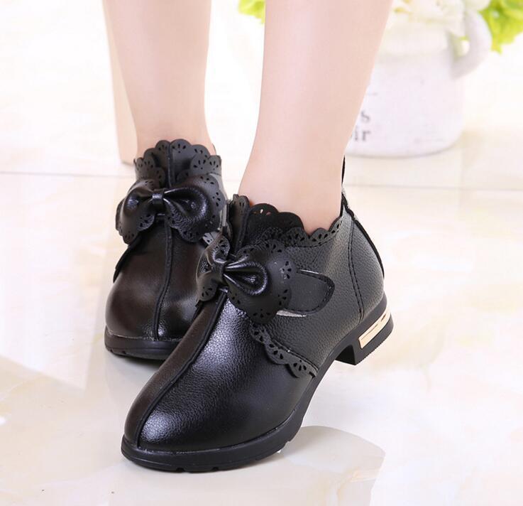 Além de veludo princesa sapatos Meninas quentes Crianças botas de neve Menina sapatos de couro Outono e inverno à prova d 'água crianças estudante