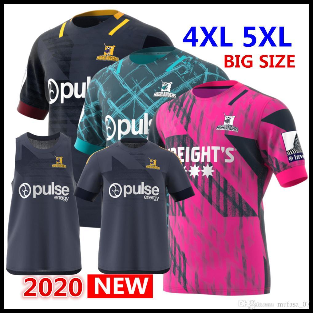 2020 년 고지 Primeblue 슈퍼 럭비 저지 뉴질랜드 홈 럭비 셔츠 셔츠 하이랜더 성능 티 내의 럭비 저지 5xl