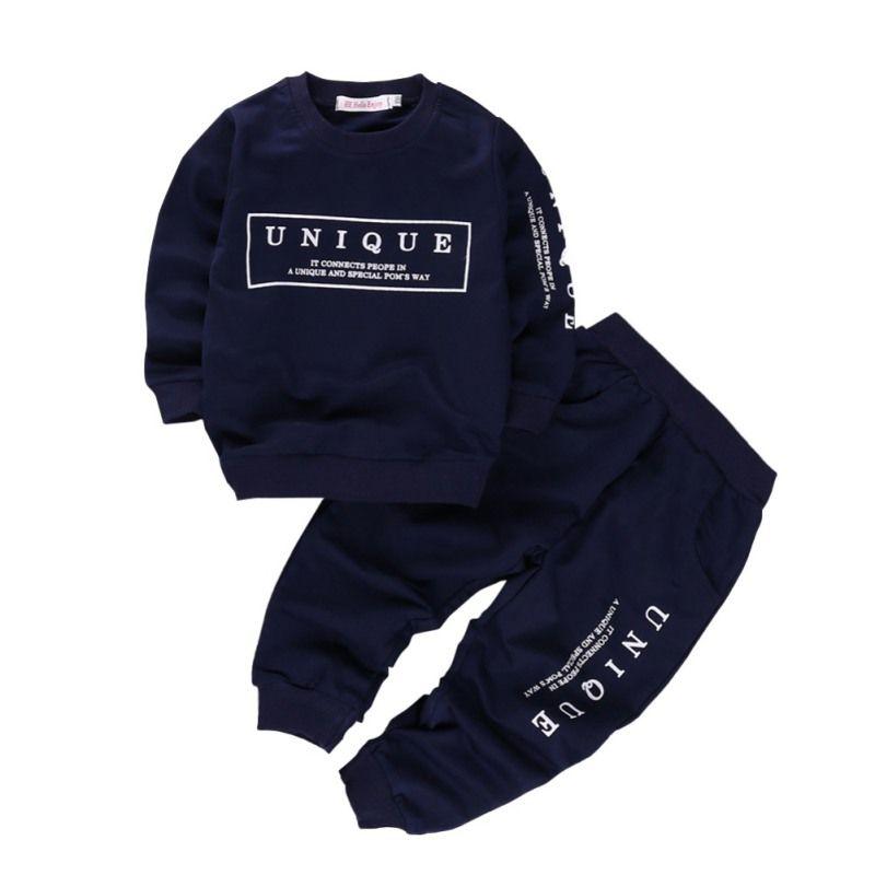 2pcs recién nacidos muchachas de los bebés juego de ropa otoño del resorte de los muchachos impresión de la letra de manga larga Tops + Pants sistemas de la ropa de los niños