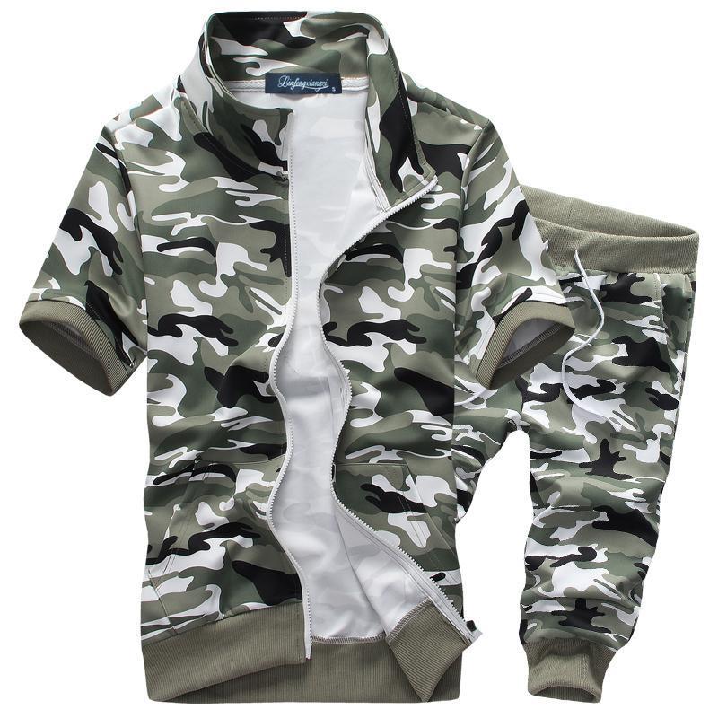 Новый летний камуфляж спортивный костюм спортивная одежда с коротким рукавом мужской комплект спортивный костюм с коротким толстовка брюки комплект 3XL прямая поставка
