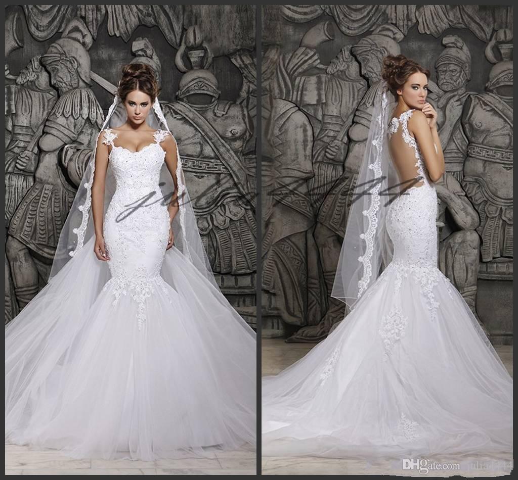 Vestidos de novia de encaje Berta 2019 Ilusión sexy de vuelta con tren desmontable Vestidos de novia de encaje de tul marfil personalizados