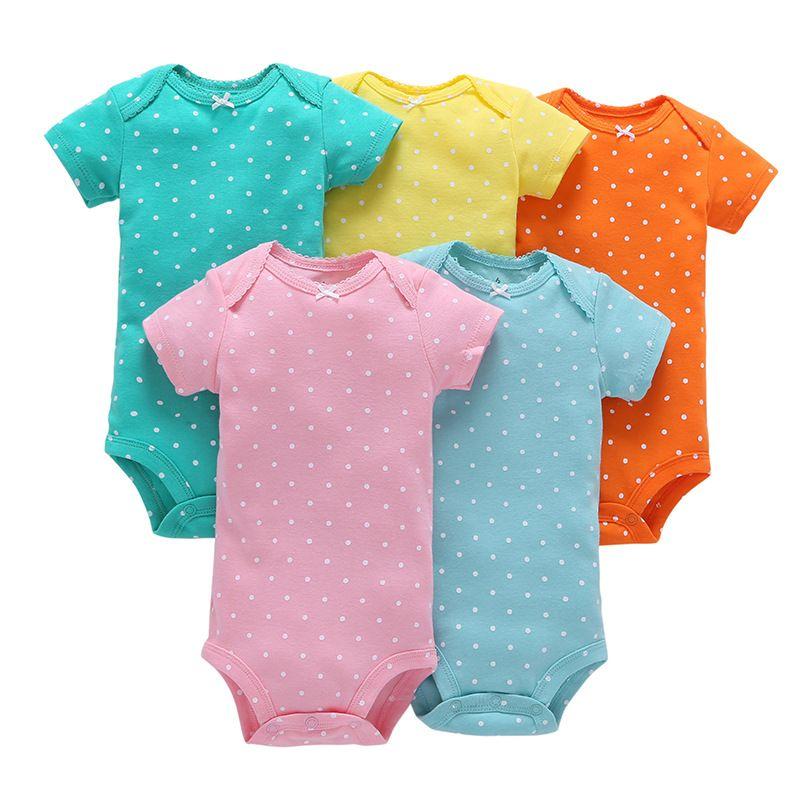 Boys Girls Romper Baby Clothing Cotton 5 Pieces Summer Short Sleeve Cute Pajama Children Badysuit Thin Clothes Onesie Wholesale