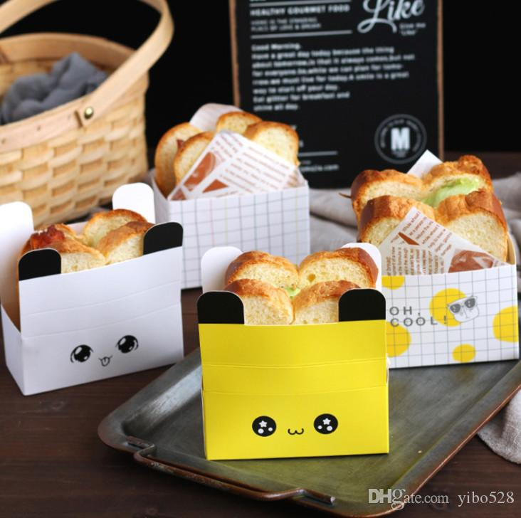 2019 Cute cartoon expression square cake paper pan cake cups / toasted bread trays / paper cupcakes Sandwich Boxes