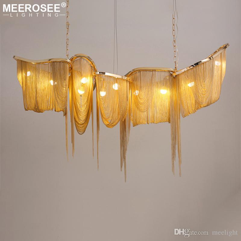Современные алюминиевые цепи Люстра Освещение Luxury Италия кисточкой S Gold Chain Pendant Light Lobby Hotel Club Villa Project Home Lighting