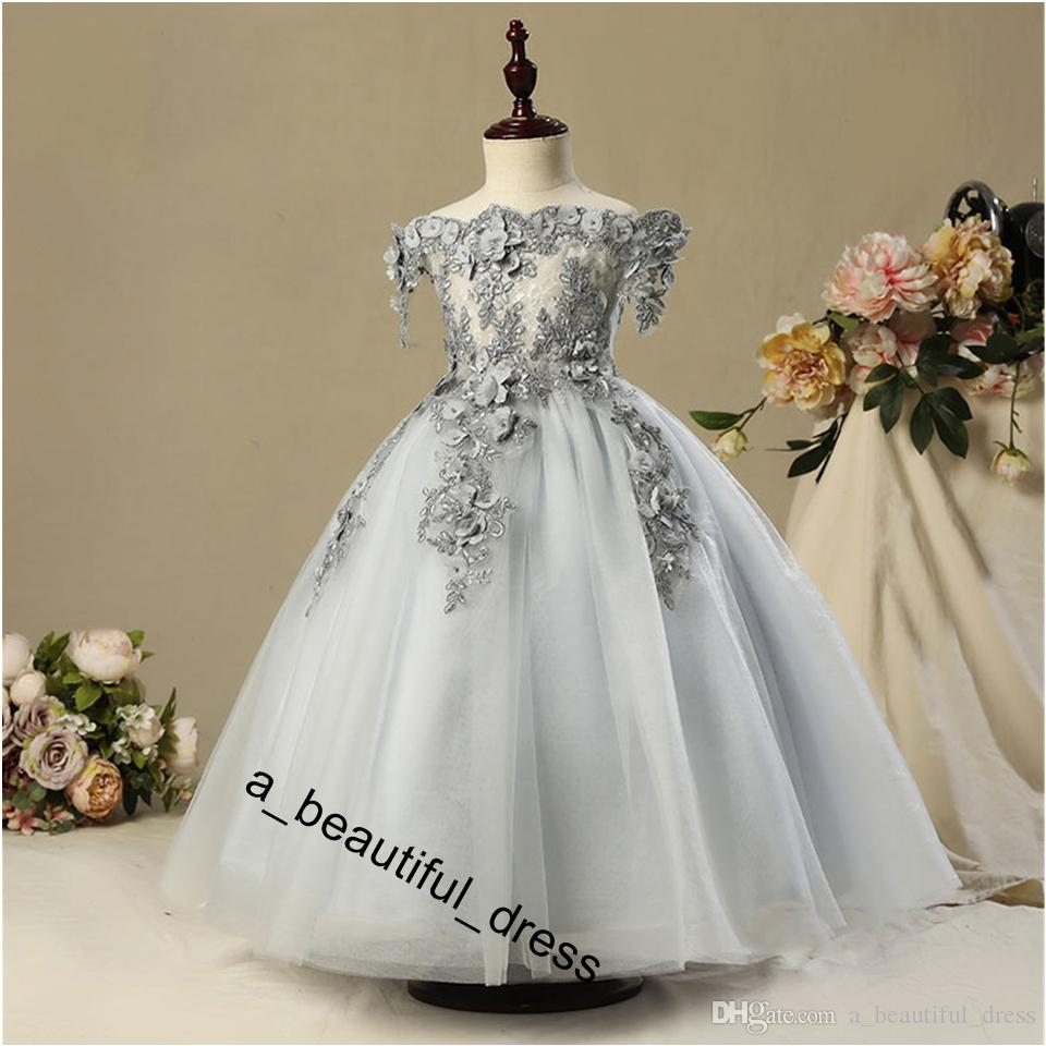 Gray Bead Decoration Long Flower Girl Dress New Girl Ball Gown pageant Wedding Party Exchange Dress Ball Beauty Sexy Shoulder Dress FG1272