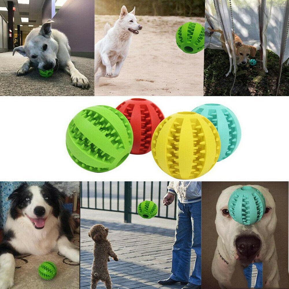 Masticazione del cane Denti sfera giocattolo di gomma Dental pulito sano Trattare Gum Bite Puppy Pet Supply gatto giocattoli di masticazione
