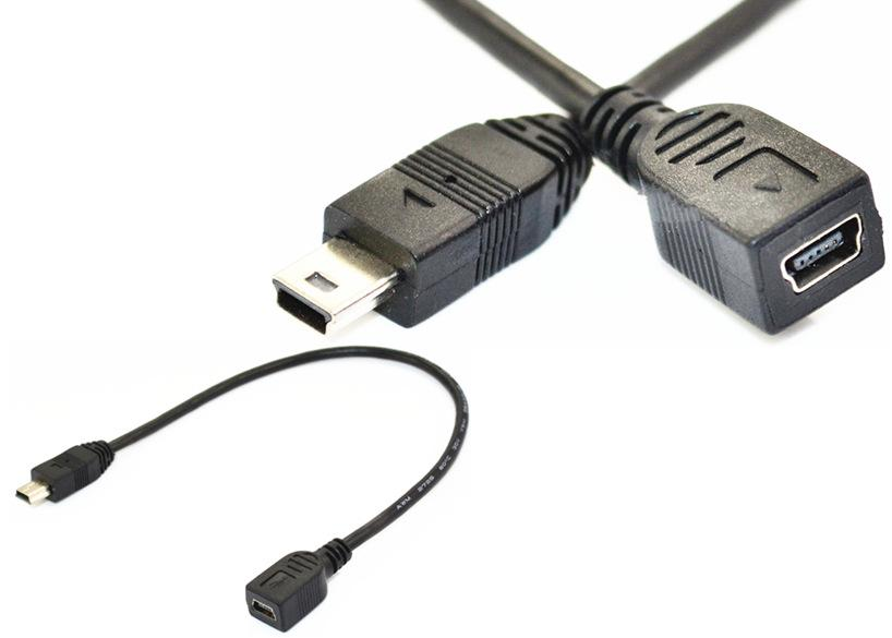 Mini USB 5 Pin female - male extension cable 0.25m