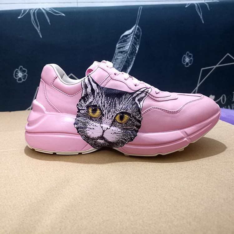 chaussures tête chat rose homme et femme chaussures papa amoureux cuir rhyton chaussures Impression 3D peu de mode éléphant volant