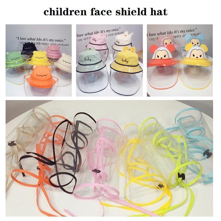 Дети Bucket Hat С Face Shield Регулируемое анфас Обложка Изоляция Маска защитная Козырек Kids Party Hats подарков