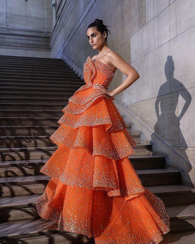 Vestidos de baile Orange lujo con grandes cristales rebordear Lentejuelas gradas de la celebridad del vestido de noche de longitud de los vestidos de las niñas desfile