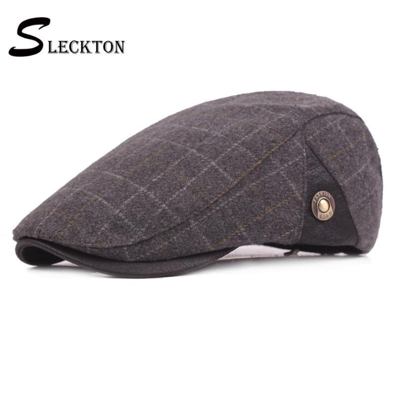 SLECKTON Ekose Pamuk Şapka Retro Bereliler Düz Cap Caps Moda Newsboy Hat Fedora Casual Güneş Şapka Cabbie Şapkalar Vintage Peaked