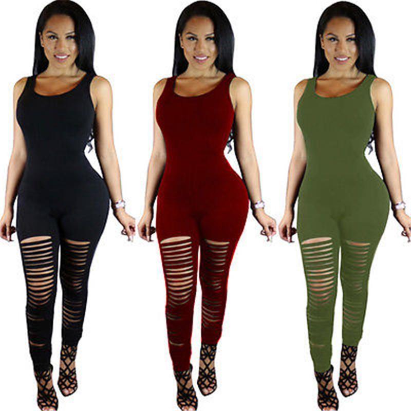 Mode Automne Nouveau Vêtements pour femmes Jumpsuit Casual manches bodycon Slim Skinny Détruite Jumpsuit club solide