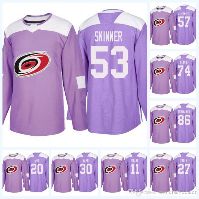 20 Sebastian Aho Carolina Hurricanes Purple Fight Cancer 53 Jeff Skinner 11 Staal 74 Jaccob Slavin 86 Teuvo Teravainen Jersey de hockey sobre hielo
