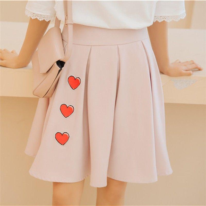 Высокая талия плиссированные юбки Harajuku юбки женщины девушки Лолита a-line матрос юбка большой размер опрятный школьная форма любовь печати