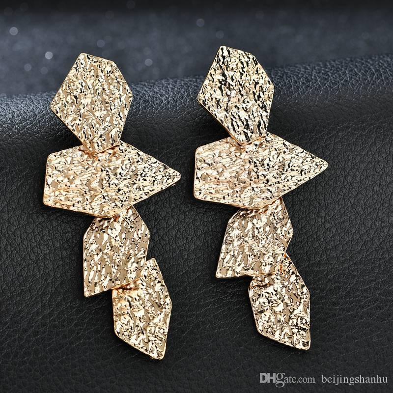 2019 Métal Or Bijoux Boho couleur Punk irrégulière Boucles d'oreilles pour les femmes Trendy Charm Jewelry Factory gros e2376