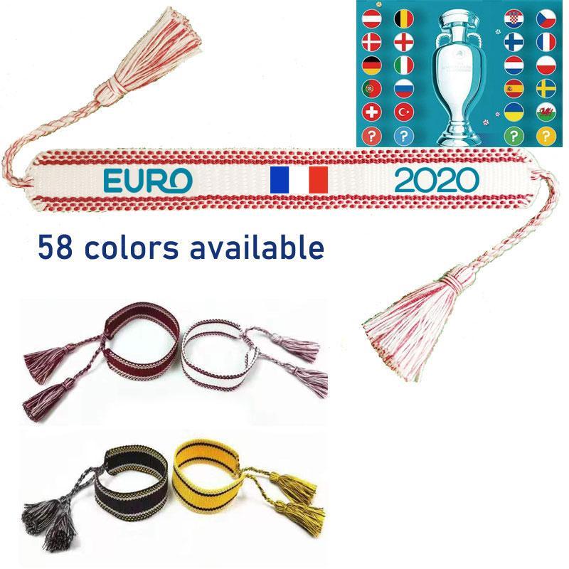 Оптовые Заказные 2020 Европейский Кубок Дружбы Браслет Марка Same Плетеный браслет мужчин и женщин Одинаковые 60 цветов Дополнительный Бесплатная доставка