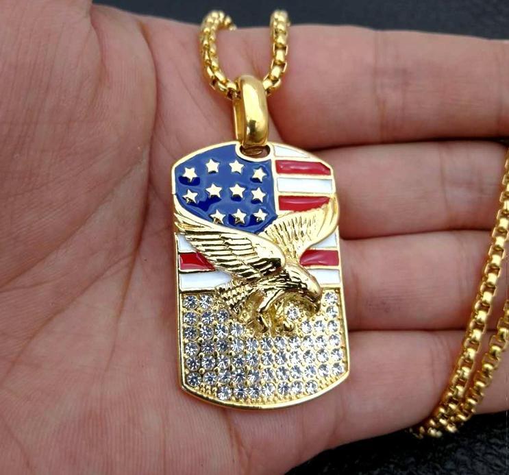 Ожерелье мода новый продукт европейский и американский стиль позолоченный Алмаз национальный флаг Орлиные крылья супер роскошные мужские ожерелья
