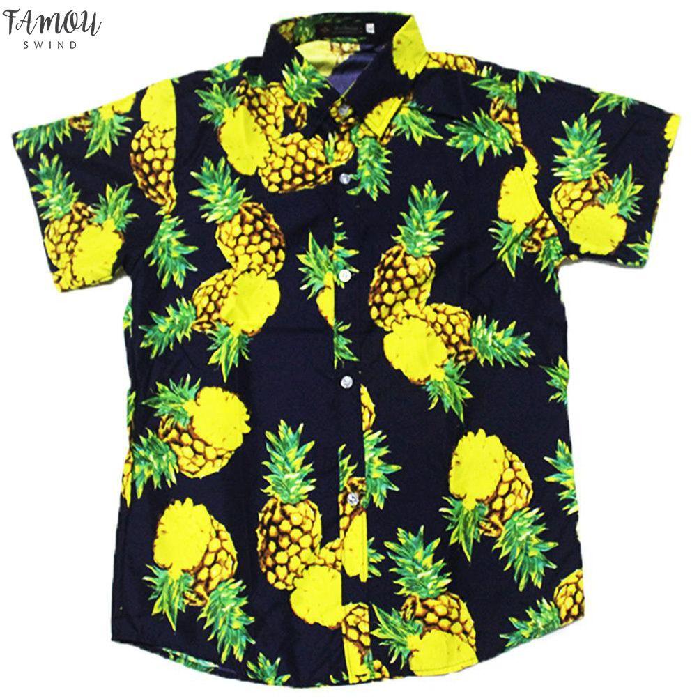 Mulheres Roupa Mulheres amantes camiseta Moda Verão Hawaiian Style abacaxi impressão de manga curta roupas femininas