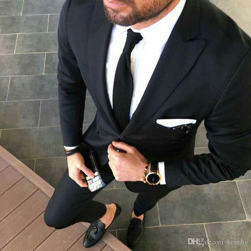 Custom Black Business Men Suits for Wedding Groom Tuxedos Smoking Jacket Man Attire Slim Fit Man Blazer Prom Party 2Piece Terno Masculino