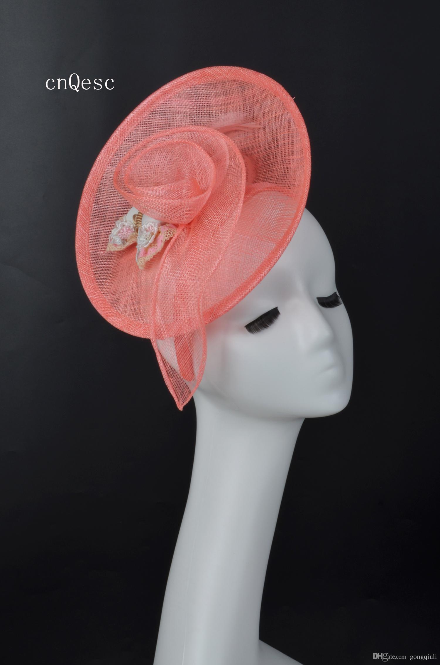 2019 Coral pink Ladies abito formale cappello sinamay fascinator Kentucky Derby corse nuziali doccia nuziale madre della sposa con piume.