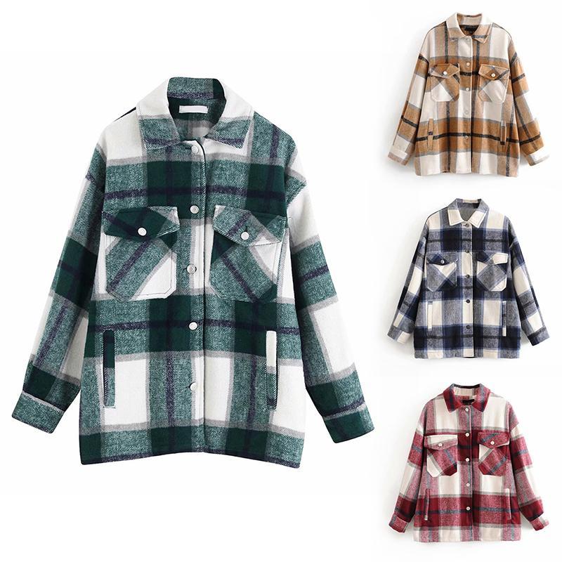 격자 무늬 Overshirt 혼방 모직 자켓 빈티지 세련된 패션 옷깃 칼라 긴 소매 코트 캐주얼 여성 자켓 세련된 탑을 포켓