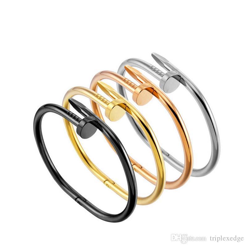 Top quality stainless Steel gold nail carter Bracelet For Women Men love bangles cuff Bracelet Pulseira feminina jewelry