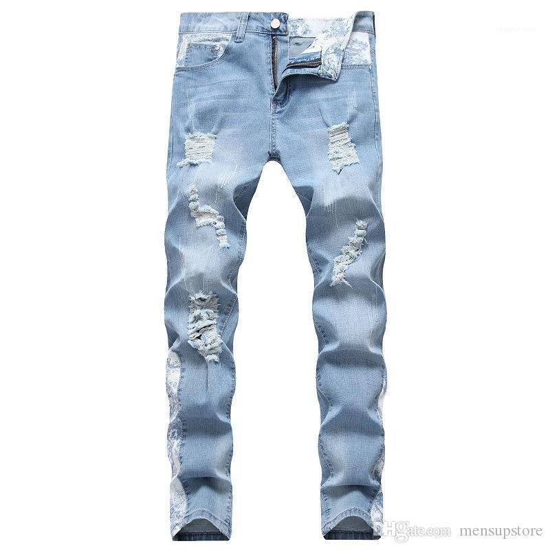 Fit Jean Hombres Mujeres monopatín Diseñador rasgado del motorista Jeans Pantalones 19SS Delgado otoño