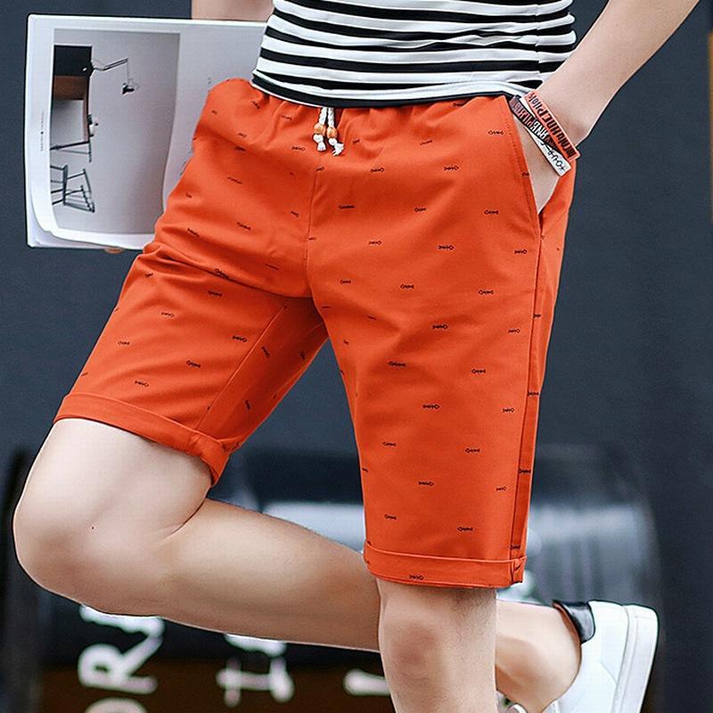 tendência do verão da moda shorts homens soltos reta retas calças de cinco pontos finas seção 2020 de algodão puro esportes casuais calças simples