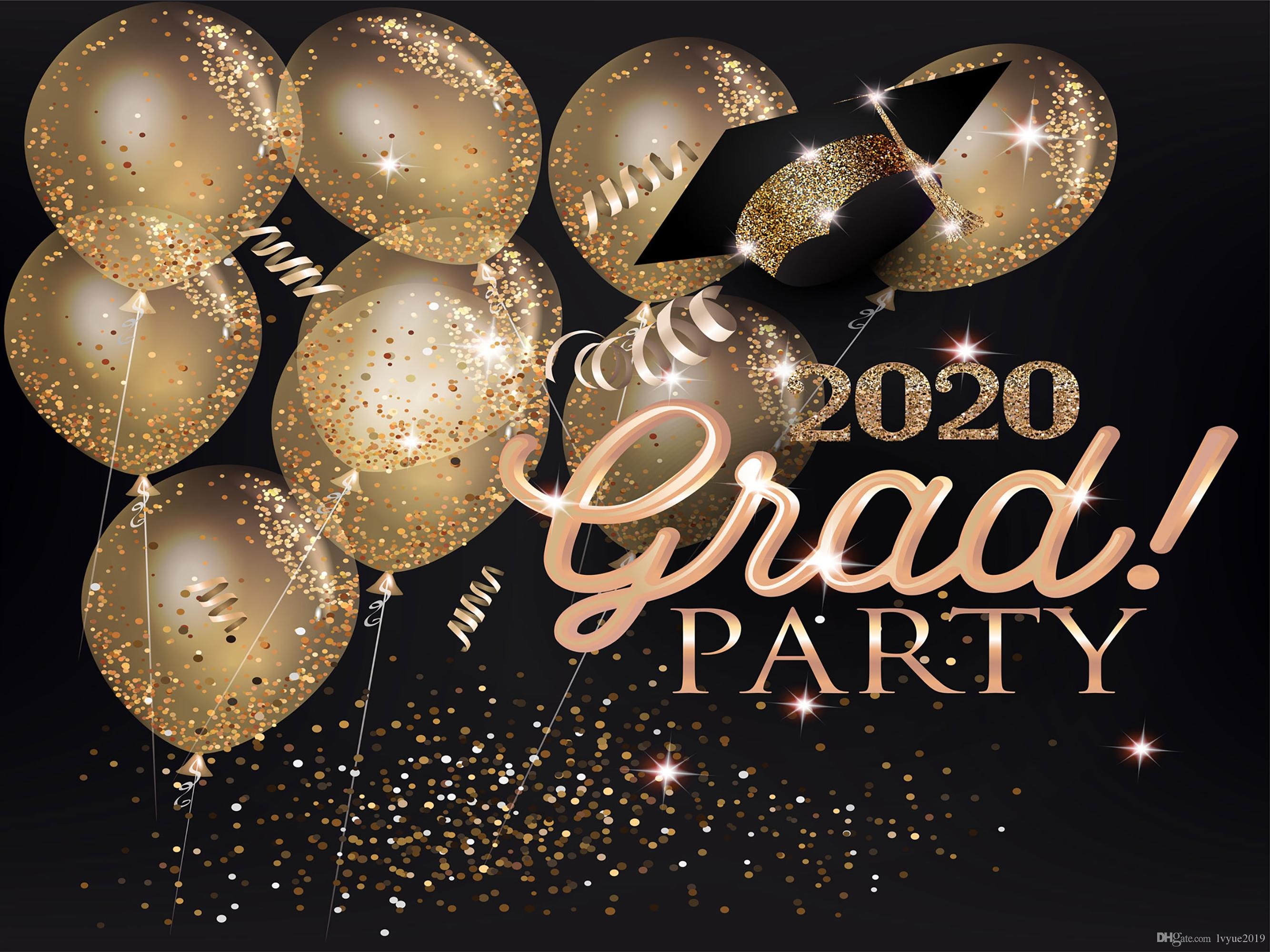Graduation Party 2020.2019 2020 Graduation Party Banner Vinyl Photography Backdrops Hats Ribbon Gold Air Balloons Black Photo Booth Backgrounds For Students Studio Pr From
