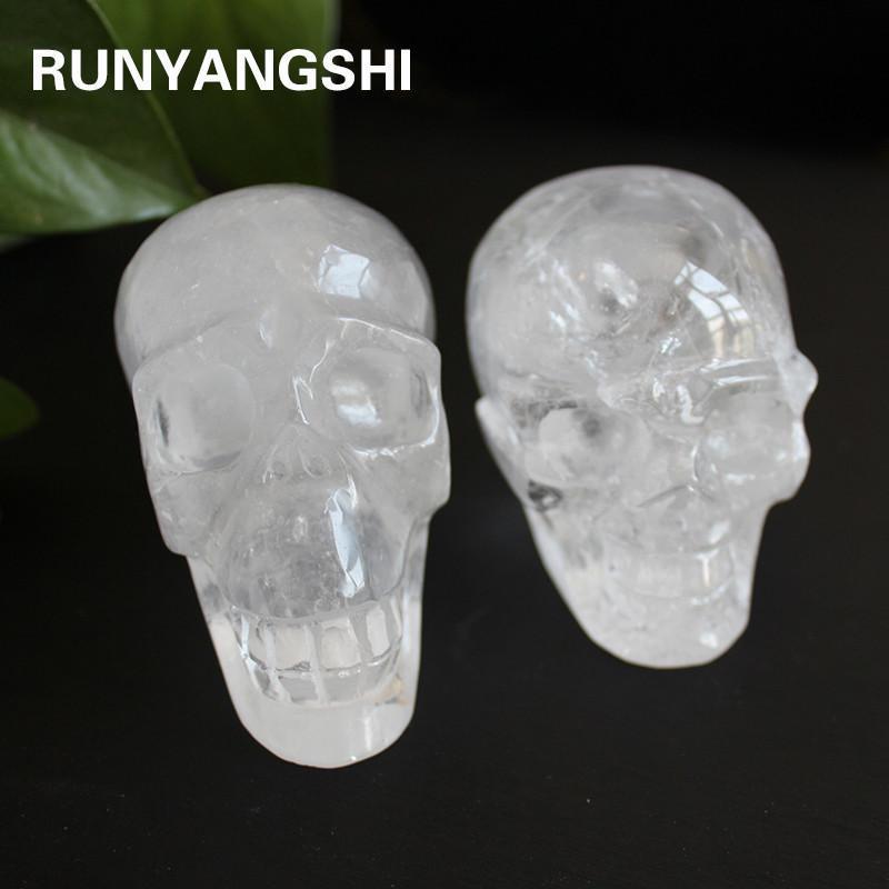 Sobre 450g de cristal branco natural crânio escultura de pedra original e casa cabeça fornecer artes e ofícios KB01
