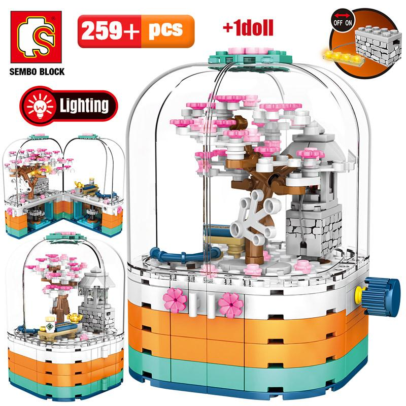 SEMBO Creative LED Light Rotating Box Building Blocks Friends City Street View Cherry Blossom House Tree Bricks Toys for Kids