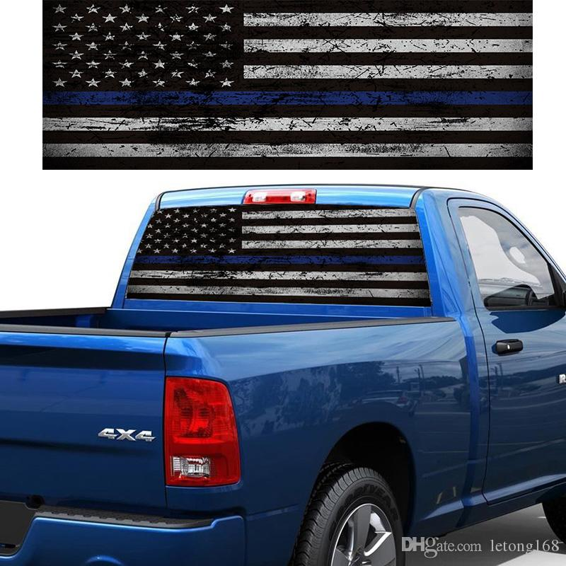 Truck Back Window Decals >> 2019 Flag Blue Stripes Pickup Truck Rear Window Decal Suv Car Sticker From Letong168 20 1 Dhgate Com