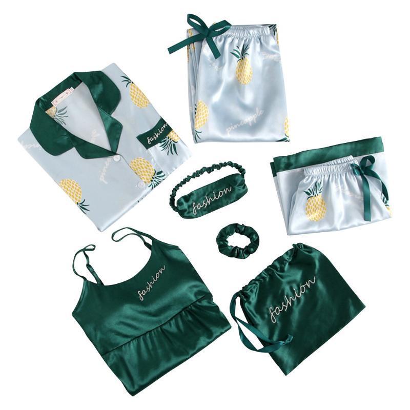 Primavera Verano 7 piezas Set elegantes de seda pijamas de las mujeres Sólido Pantalones cortos de manga larga superior elástico de la cintura de los pantalones ropa de dormir con el cojín del pecho