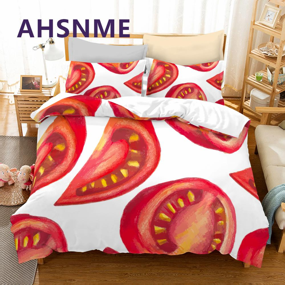 Tomato Red Duvet Comforter Cover Cotton King Queen KG
