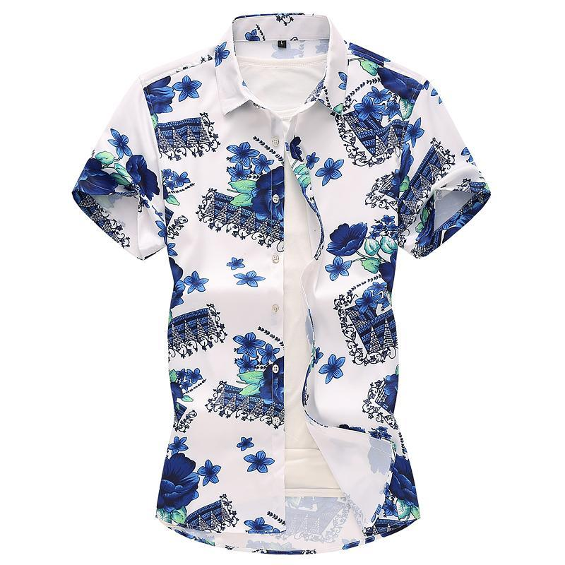 Plant Flowers Korean style Shirt for Men Blue Floral Beach leisure Hawaiian Men's Shirts Dress Fashion Summer New