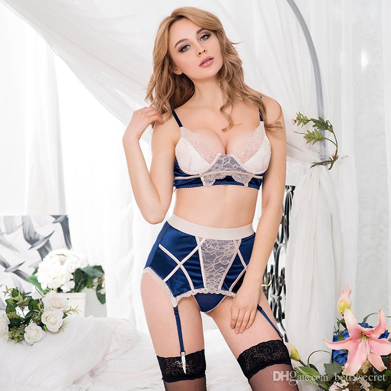 4c8fc99df68a0 2019 Wholesale Fashion Lingerie Panty Sets Navy Bra Set With Beige Lace  Overlay Gartered Panty Wired Bras Sets From Bettysecret, $9.14 | DHgate.Com