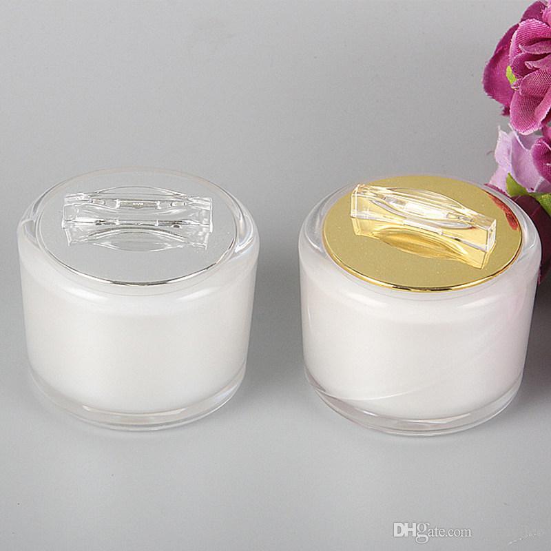 5g 10g Acryl Weiß Sahneglas, Leer Kosmetik Verpackung Container Probe Tins Schönheit Werkzeuge Schnelle Lieferung F3612
