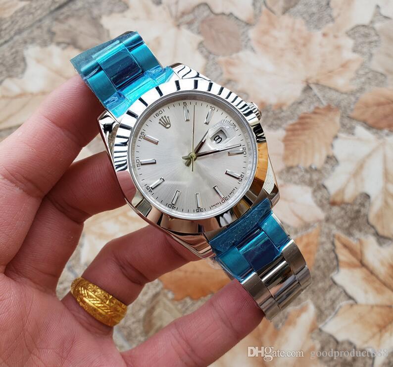 Männer Freizeit Luxus-Uhr-Qualitäts-Edelstahl-automatische mechanische Uhr hochfestes Glas Wearable-Material