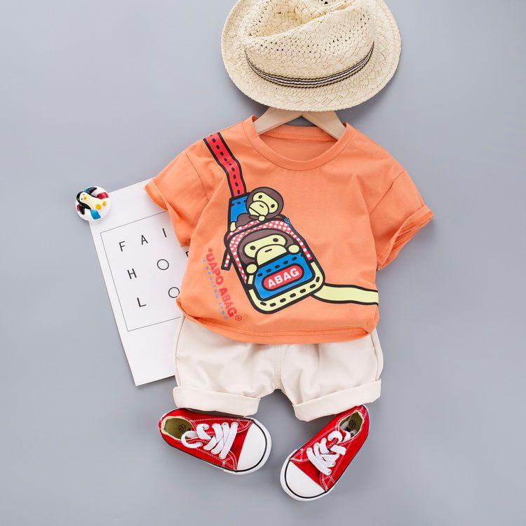 Toddler Baby Boy Girls Clothing Sets Kids Infant Cotton Cartoon Monkey Tops T-Shirts+short Pants Summer Children Clothes Set