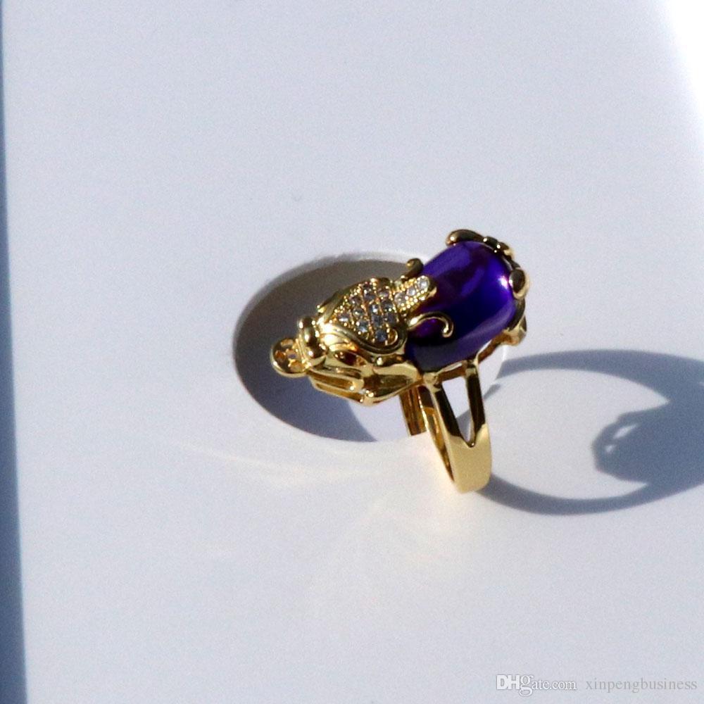 Sweethearts Antique 14 K Solid Gold GF 3D Luck Ricchezza Pixiu Purple Onyx Diamond Small CZ Eyes Anello filigrana Open