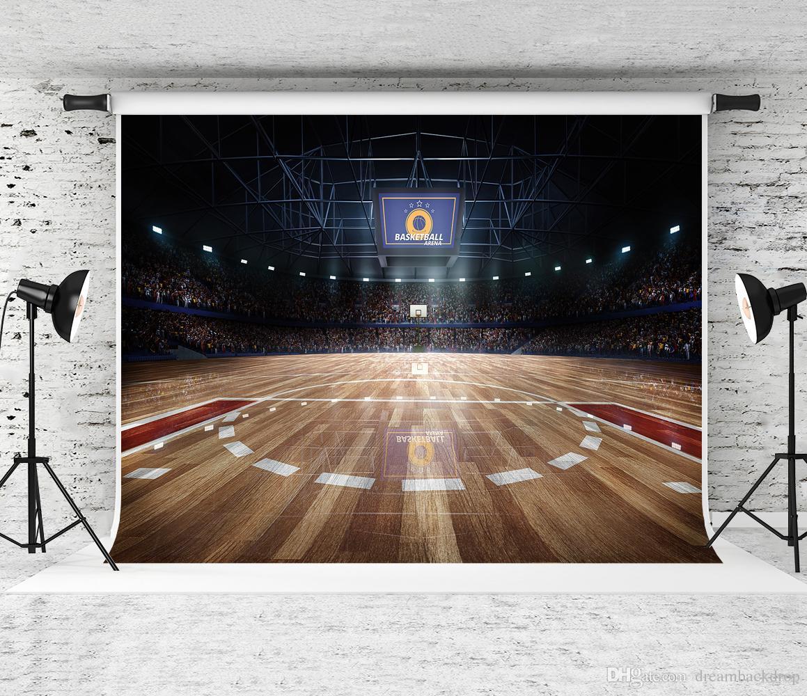 7x5ft المهنية كرة السلة المحكمة خلفية خلفية ليلة ضوء الخشب الطابق خلفية للرياضة موضوع حزب ديكور صور التقطت prop