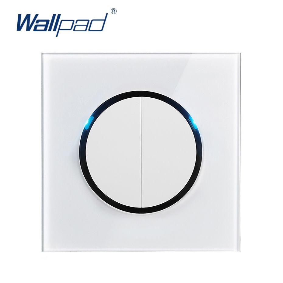 LED Göstergesi Beyaz temperli cam panel T200605 ile Wallpad L6 LED 2 Gang 2 Yollu Rastgele tıklayın Basmalı Dönüş Düğmesi Duvar Işık Anahtarı