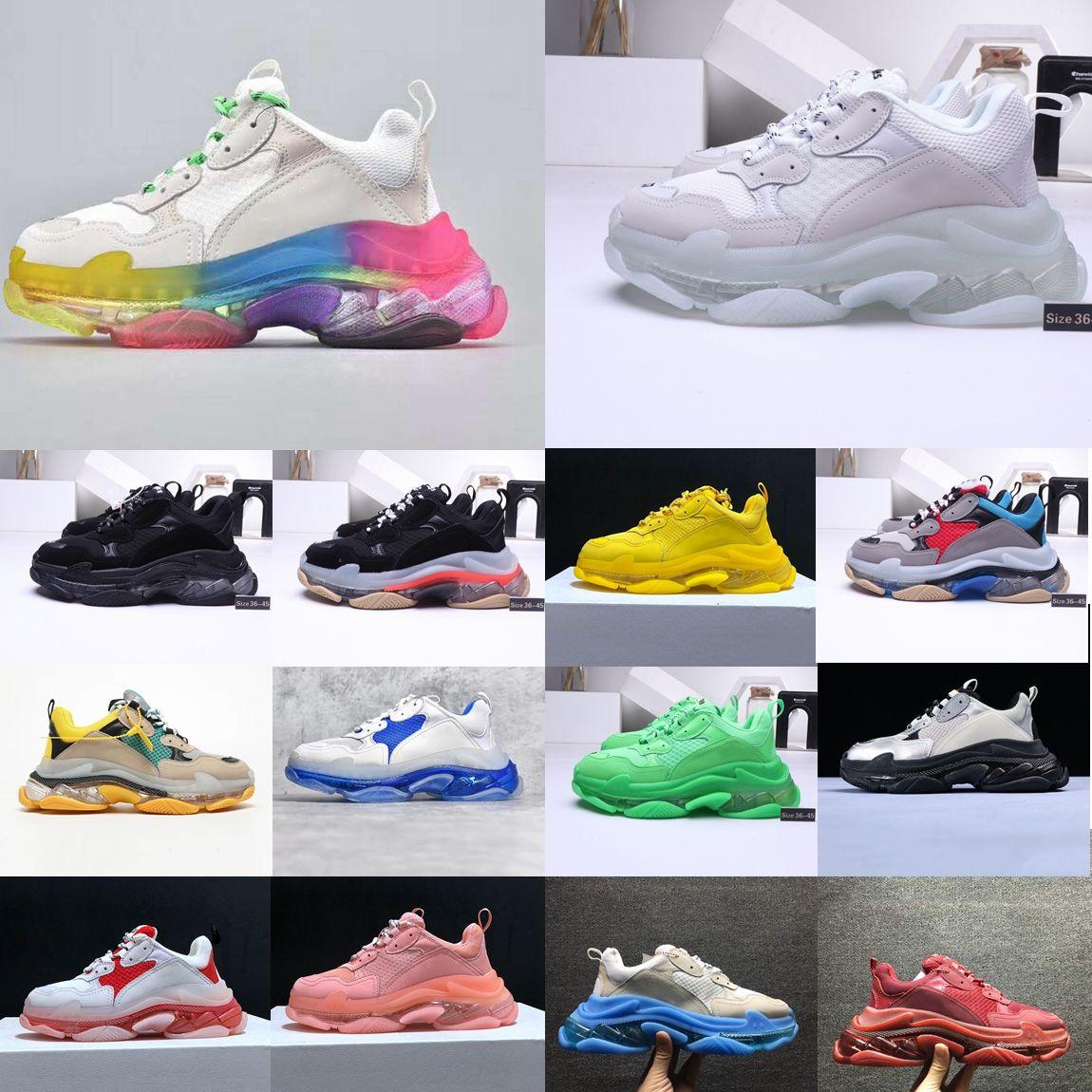 2020 Triple S Sneakers Green Crystal Cushion Bottom Men Women Triple-S Fashion Paris Kanye 17FW Dad Designer Trainers Shoes Size 36-45