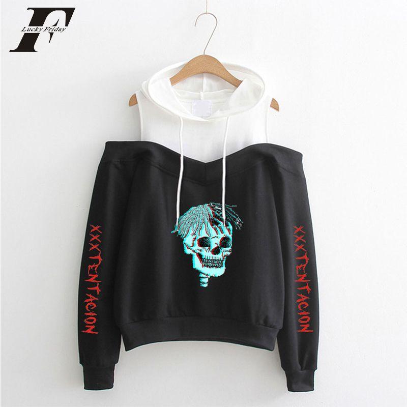 2018 XXXTentacion hommes de grande taille hoodies Harajuku coton imprimé à manches longues Off-épaule Vêtements à capuchon