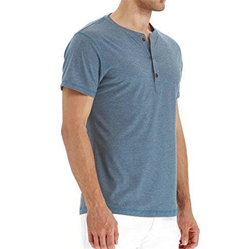 Ras Du Cou T-Shirts Hommes Solide Couleur À Manches Courtes T-Shirts Casual Slim Streetwear Respirant Tops Hommes